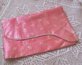 Vintage Pink Gold Satin Lingerie Travel Carrying Case Holder - Schiaparelli