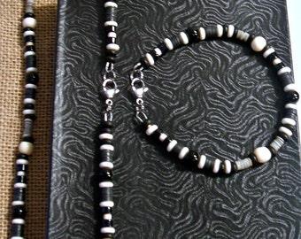 Men's Black and White Onyx Beaded Necklace Bracelet Set