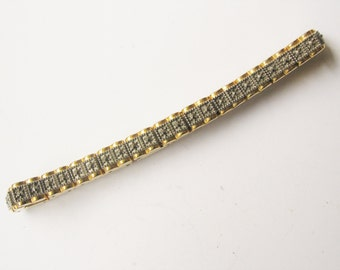 Pretty 1960s articulated costume marcasite and gold plated stud skinny statement bracelet