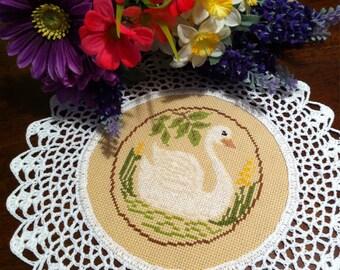 Beautiful Swan cross stitched doily