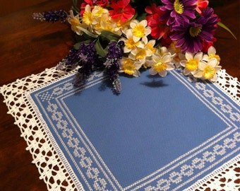 Pretty blue and white doily