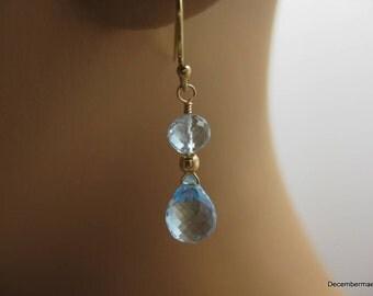 Blue Topaz Briolette Earrings in Gold