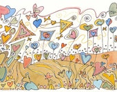 Valentine's Day, Hearts, ink drawing, watercolor, small art, original art