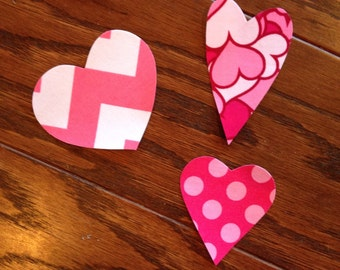 Valentine Heart Trio Iron On Applique, You Choose Fabric