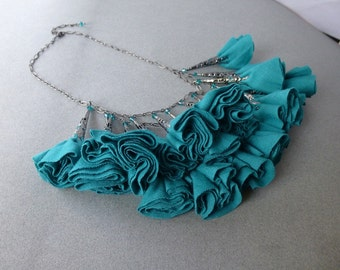 Emerald Green and Gunmetal Fabric Rosette Statement Necklace