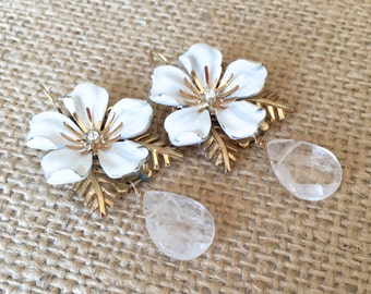 Bold Bridal Earrings - Upcycled Vintage Flowers, Ivory Coin Pearl Teardrops, 14k Gold  ((Virginia Earrings))