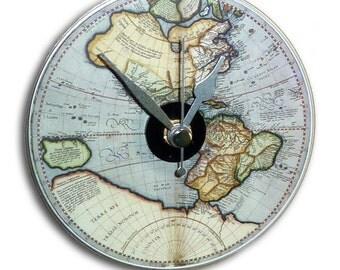 Illustrated Mini Wall Clock featuring antique globe map illustration