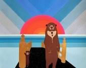 """Sunbears in Ombre Sky, Art Print by Thailan When, 11""""x11"""""""