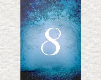 printable woodland wedding table numbers instant download into the woods 1-24 Table Cards forest magic fantasy blue trees nature outdoor diy