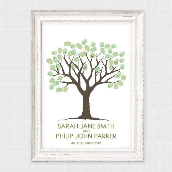 printable guest book wedding fingerprint tree thumbprint