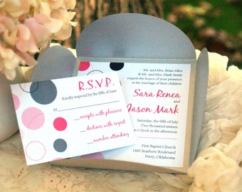 Modern Dots - Petalfold Wedding Invitation (Many Colors Available)