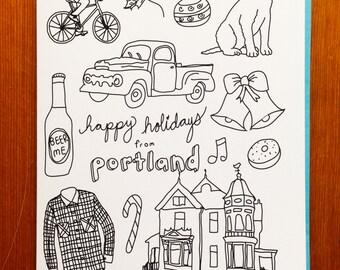 Handmade Card - Happy Holidays From Portland