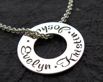 Personalized Necklace - Personalized Jewelry - Sara tiny washer free floating personalized engraved necklace