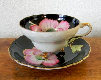 Vintage Hand Painted Lusterware Bone China Teacup and Saucer