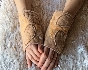 Camel Leafy Fairy Wrist Cuffs, Merino Wool Felted Fleece Arm Warmers - Pixie Woodland Elven Clothing Accessories
