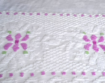 Vintage Chenille Fabric - Purple Flowers and Dots on White - 19 x 32