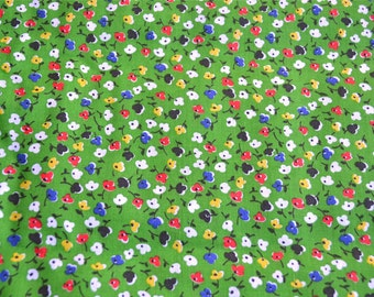 Vintage Fabric - Petite Red and Blue Flowers on Green - 45 x 45