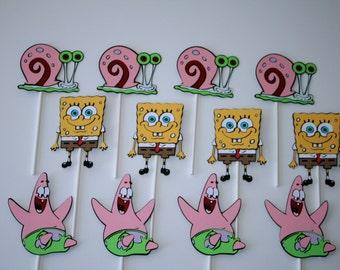 Spongebob Squarepants Cupcake toppers, birthday party, Spongebob, Patrick, Gary