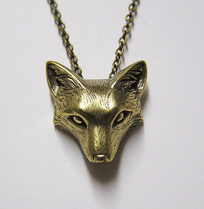 fox necklace pendant fox charm woodland fox on 20 inch