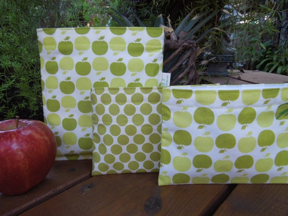 Reusable sandwich and/or snack bag - Reusable bags set - Reuse sandwich bag - Fabric snack bag - Teacher appreciation gift - Green apples