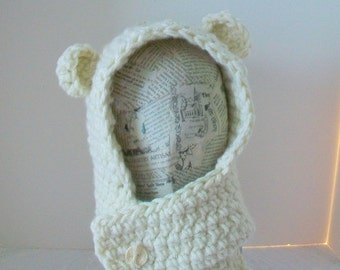 Child s knitted Warm white winter hoodie hat   Kids animal hat  Little lamb hood  Kids ski wear