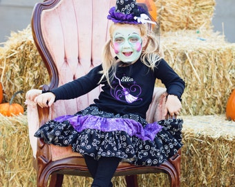 GreatStitch Halloween Witches Broom Outfit Twirl Skirt and Shirt