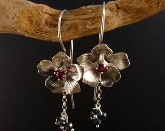 Blackberry blossom Sterling Silver Earrings Handmade Metalwork