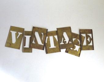 7 brass stencils ~  vintage, big brass stencils. sign letters ~ vintage, 4 1/2 inch stencil, word stencils, letter stencils, stencil sign