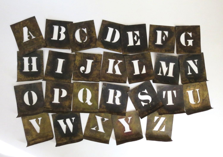 26 vintage brass stencils old stencils sign stencil letters for Metal stencil set letters