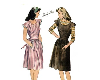 1940s Pinafore Dress and Blouse Pattern Scoop or Square Neckline Cap Sleeve Pockets Simplicity 1212 Bust 30 UNPRINTED