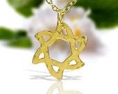 Gold Jewish star necklace, jewish jewelry, gold star of david necklace, Judaica Necklace, dainty Gold necklace, delicate Gold necklace