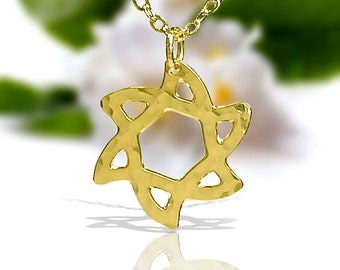 Gold Jewish star necklace, jewish jewelry, gold star of david necklace, Judaica Necklace, dainty Gold necklace, delicate Gold necklace