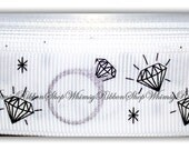 New 1, 2, 3, 4 or 5 yards 7/8 Glitter Diamond Silver Rings BRIDE on Grosgrain Ribbon bows party wedding bridal bling diamonds ring