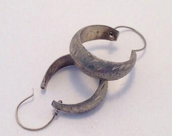 Vintage Sterling Silver Hoops Engraved Victorian Hand Stamped