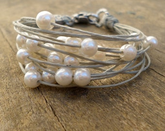 White pearls bracelet, fiber jewelry, multistring bracelet, beaded bracelet, jewelry handcraft in Italy