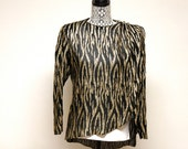 Vintage 1960s Claralura Original Black and gold Blouse by Sancor