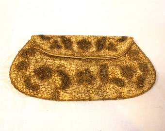 Vintage 1960s Richere Gold beaded  Purse