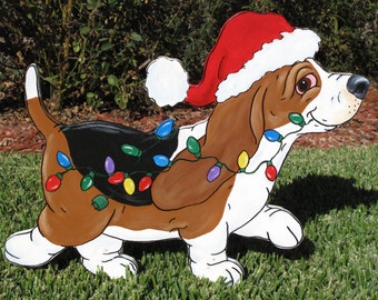 Basset Hound Yard Art -  Tri Color Puppy with Xmas Lights