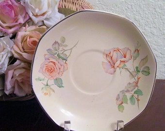HOMER LAUGHLIN Yellowstone Saucer Pattern W132 Peach and Yellow Roses