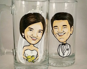 Custom Bride and Groom Toasting Glasses -  The Original Caricature Glasses (tm) - Hand Painted Beer Mugs
