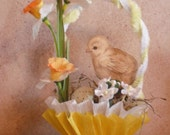 EASTER- Vintage style nut cup- candy cup- table decor - Spring Chick