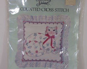 Candamar Something Special Counted Cross Stitch Calico Cat Pillow #50089 Unopened