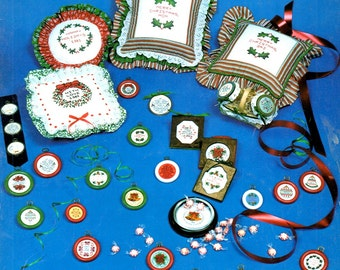 Mini Yuletide Messages Merry Christmas Peace on Earth Seasons Greetings Names Dates Counted Cross Stitch Embroidery Craft Pattern Leaflet R1
