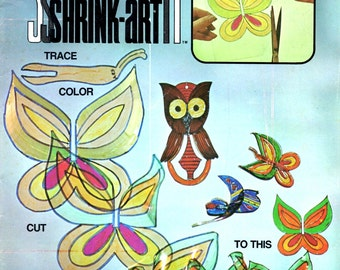 New Concepts in Shrink Art Learn How to Make Miniature Figures Transparent Plastic Butterfly Owl Madonna Puppets 1970s Craft Pattern Leaflet
