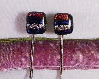 Fused Glass Hair Bobbies, Dichroic Glass, Set of 2