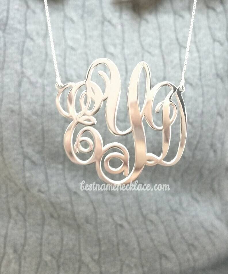 large monogram necklace personalized initials sterling silver