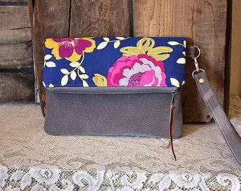 Floral Clutch wristlet in Royal Blue corduroy grey trim zipper pouch  -- Ready--