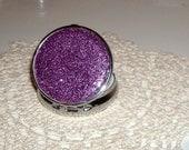 Lilac Purple Glitter Pill Tin - Bling Pill Box - Sparkly Pill Container - Silver Tone Pill Case - Round Pill Box - 011A