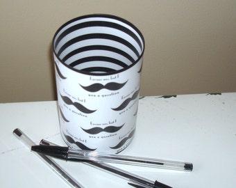 Mustache Desk Accessories - Mustache Pencil Holder - Pencil Cup - Black and White Desk Accessories - Office Decor - Desk Decor - 759