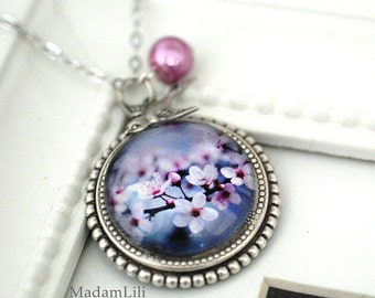 Cherry Blossoms Silver Necklace